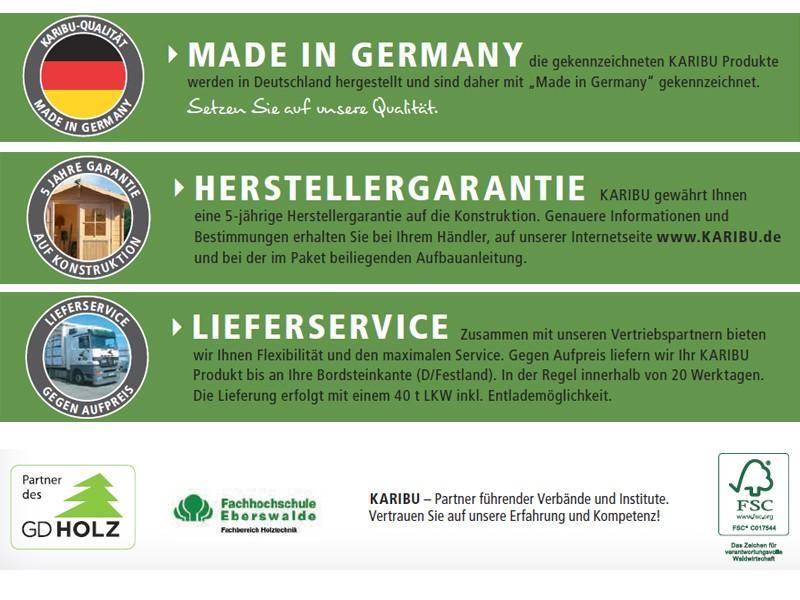 Woodfeeling Karibu Holz-Gartenhaus Seefeld 3 in naturbelassen (unbehandelt)