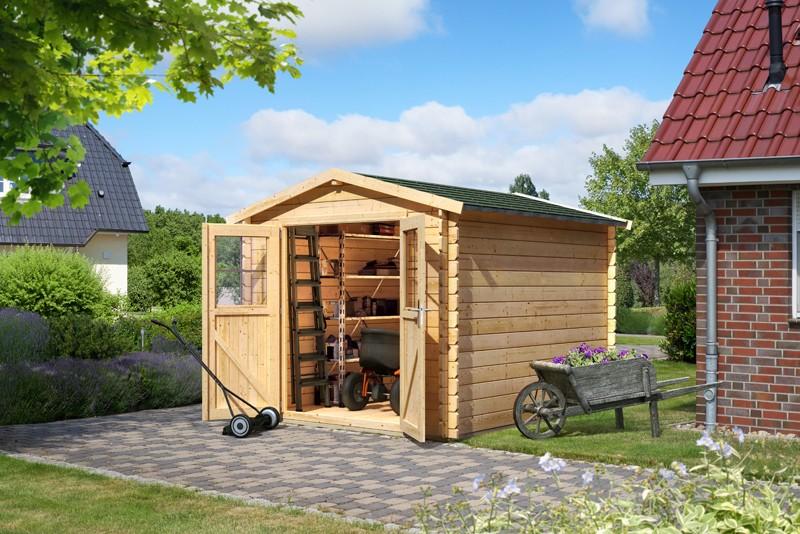 Woodfeeling Karibu Holz-Gartenhaus Seefeld 4 in naturbelassen (unbehandelt)