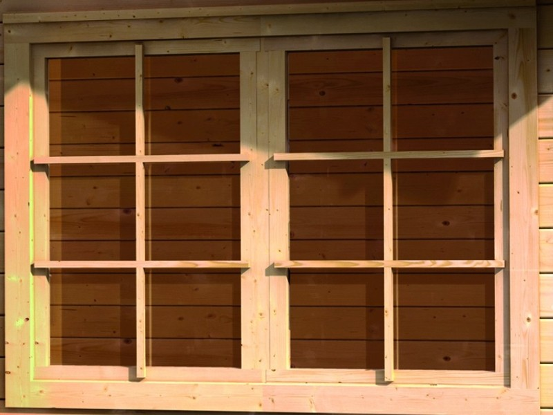 Woodfeeling Karibu Holz-Gartenhaus 38 mm gerades Fenster ( 28mm inkl Umrüstleiste als Set) in elfenbeinweiß