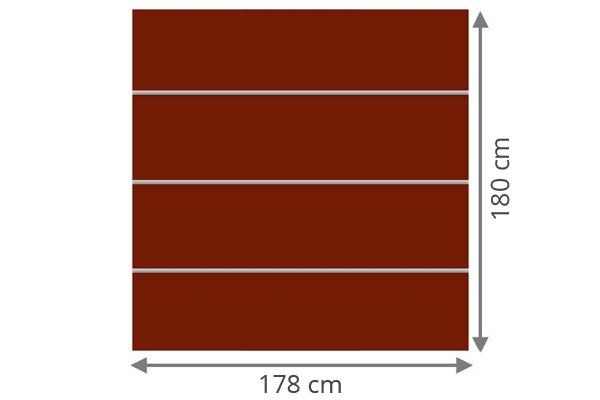 TraumGarten Sichtschutzzaun System Board XL Set Aluminium Rechteck rot - 178 x 180 cm