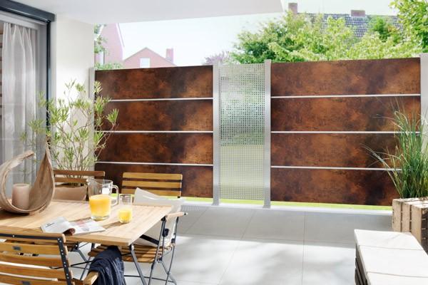 TraumGarten Sichtschutzzaun System Board XL Set Rechteck rost - 178 x 180 cm