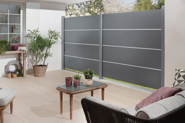 TraumGarten Sichtschutzzaun System Board XL Set Aluminium Rechteck titangrau - 178 x 180 cm