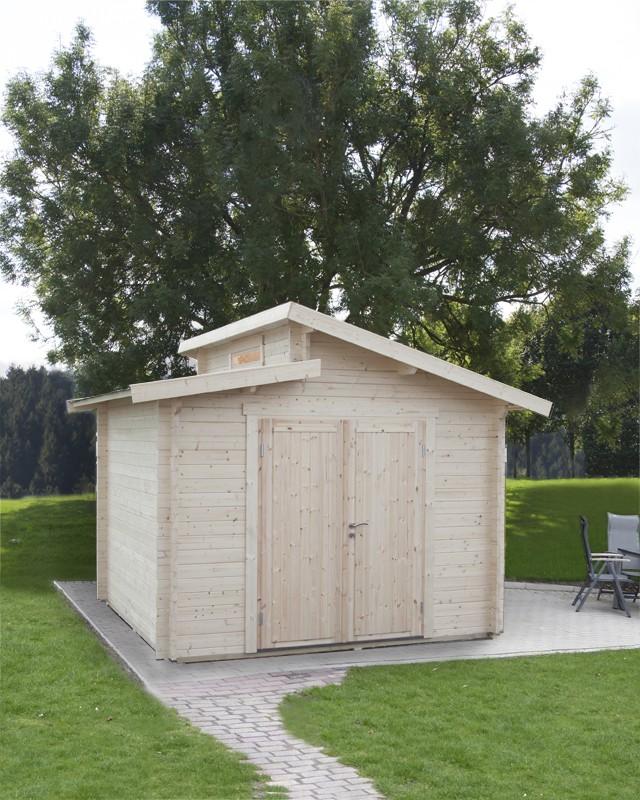 Wolff Finnhaus Holz-Gartenhaus Stufendachhaus Bornholm 40 mm A  Typ 1 (Vollholz-Tür)