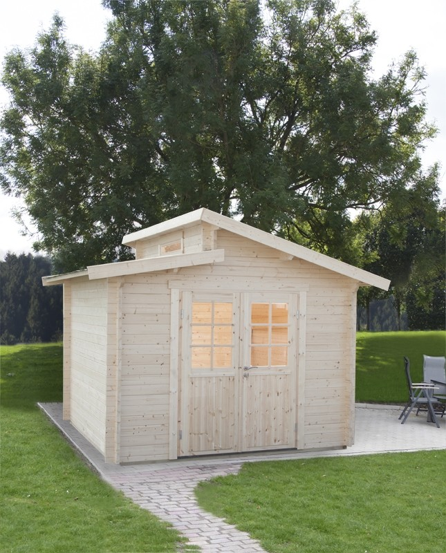 Wolff Finnhaus Holz-Gartenhaus Stufendachhaus Bornholm 40 mm A  Typ 2 (Halbglas-Tür)