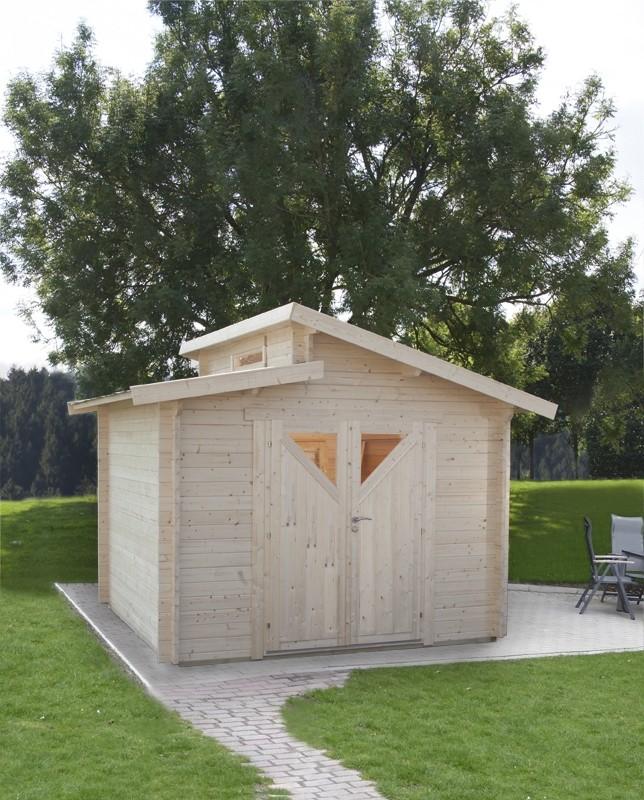 Wolff Finnhaus Holz-Gartenhaus Stufendachhaus Bornholm 40 mm B Typ 4 (Dreieckglas-Tür)