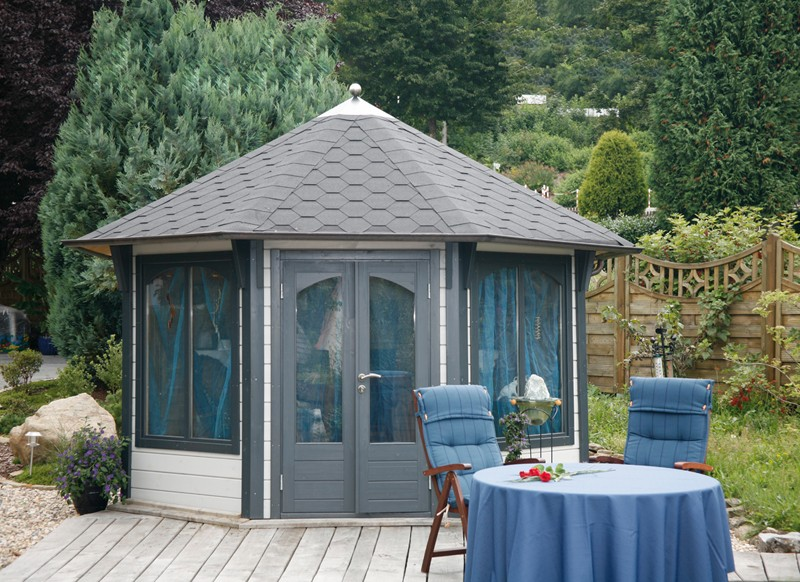 Wolff Finnhaus Holz Gartenpavillon Gartenlaube Capri 3.5 in 48mm - inkl. schwarzen Schindeln + kupfer Haube