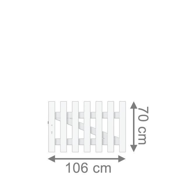 TraumGarten Vorgartenzaun Longlife Cara Tor gerade DIN LI weiß - 106 x 70 cm