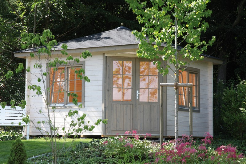 Wolff Finnhaus Holz-Gartenhaus 5-Eck-Holz-Gartenhaus Maria 40-B - 44 mm