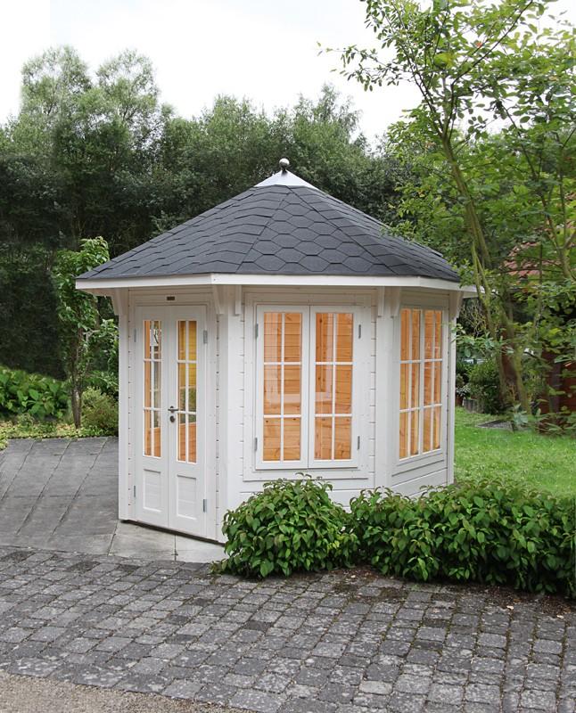 Wolff Finnhaus Holz-Gartenhaus Holz Gartenpavillon aus Holz Milano - 45mm -  3.0 grün-schwarz