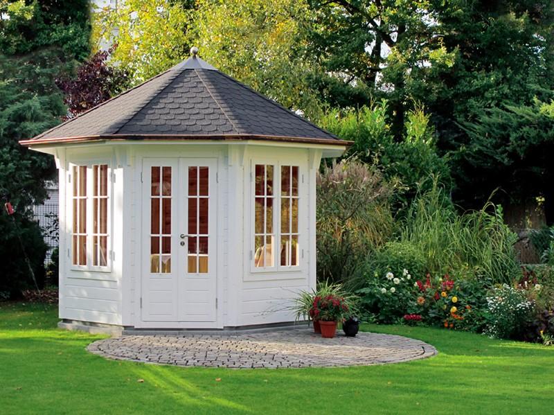 Wolff Finnhaus Holz-Gartenhaus Holz Gartenpavillon aus Holz Milano - 45mm -  3.0 rot-schwarz