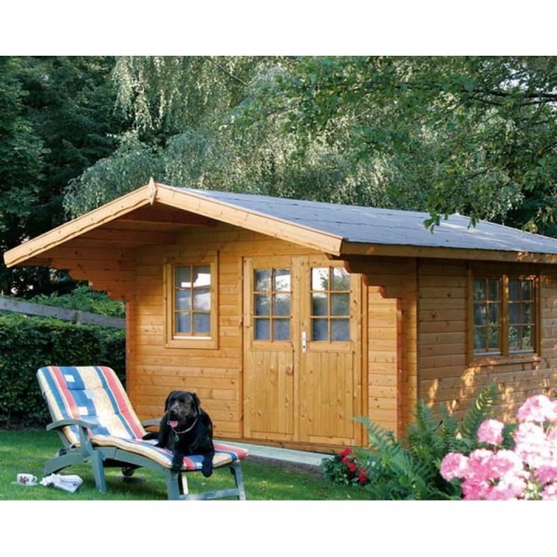 Wolff Finnhaus Holz-Gartenhaus 70mm Blockbohlenhaus  Nordkap 70-G