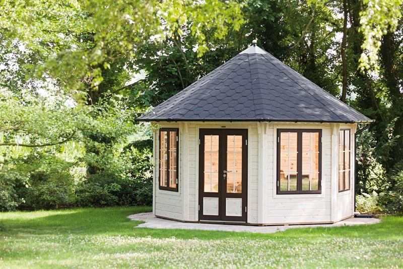 Wolff Finnhaus GartenHolz Gartenpavillon Roma 4.0 grün-schwarz