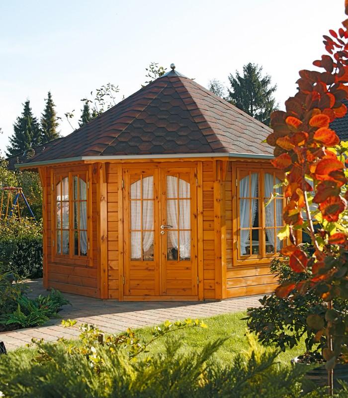 Wolff Finnhaus GartenHolz Gartenpavillon Roma 4.0 rot-schwarz