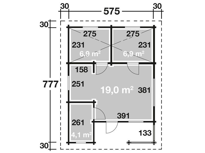 Wolff Finnhaus Ferienhaus Spessart 92-C - 92mm Wandstärke mit Schlafboden - ISO