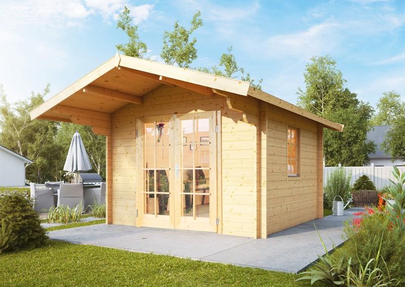 Wolff Finnhaus Holz-Gartenhaus Satteldachhaus Bergen 44 mm B