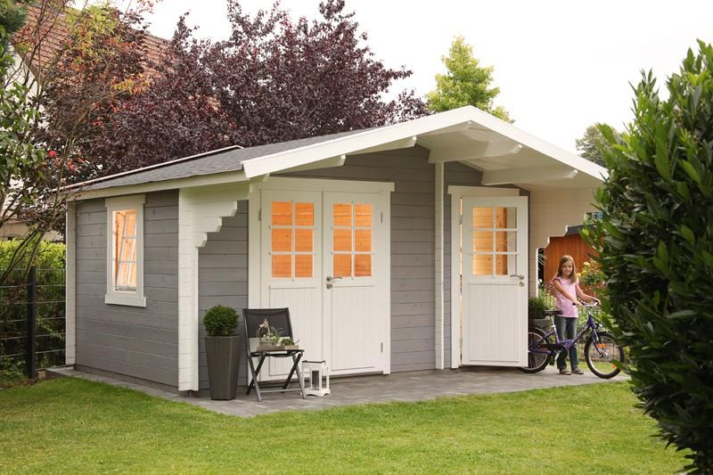 Wolff Finnhaus Holz-Gartenhaus Caro 34 mm - 2-Raum-Holz-Gartenhaus - Klassik - XL (extra hohe Türe) Tür-Durchgangshöhe 195cm