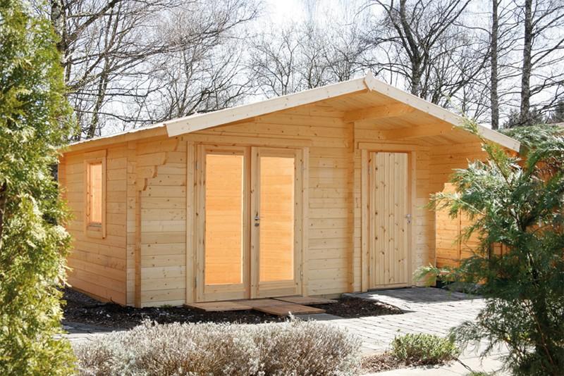 Wolff Finnhaus Holz-Gartenhaus Caro 34 mm - 2-Raum-Holz-Gartenhaus - Modern XL (extra hohe Türe) - mit hoher Tür-Durchgangshöhe 195 cm