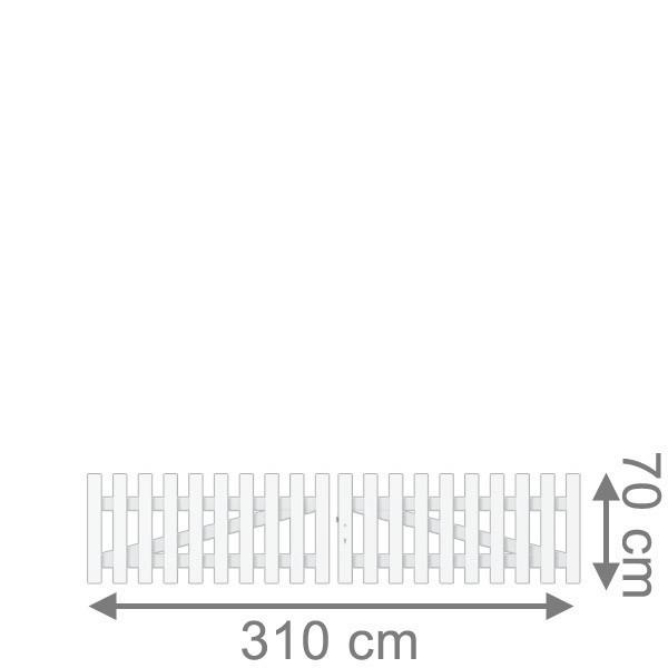 TraumGarten Vorgartenzaun Longlife Cara Doppeltor gerade weiß - 310 x 70 cm