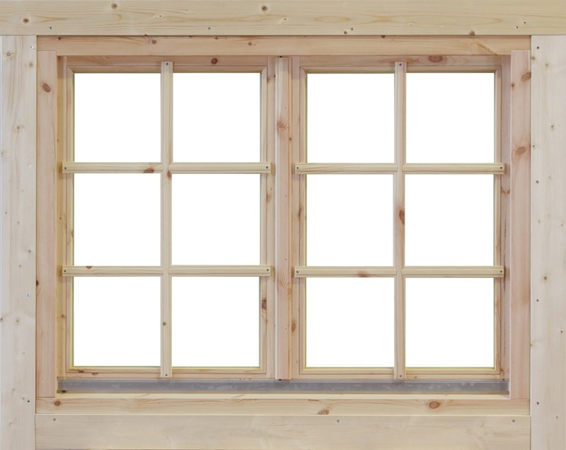 Wolff Finnhaus Holz-Gartenhaus Doppel-Fenster -  Alina 44 Iso
