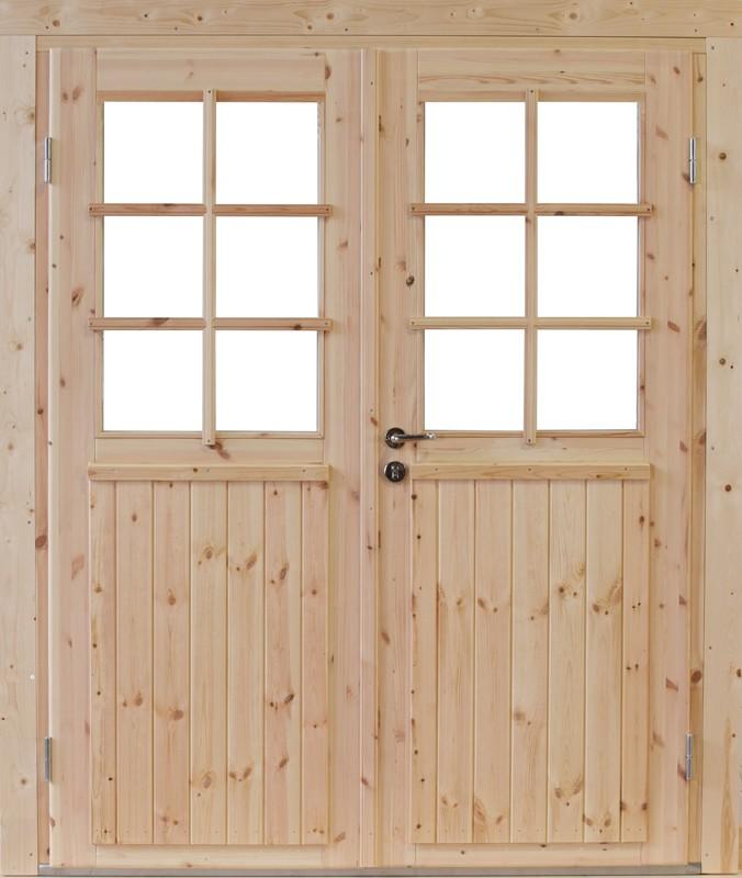 Wolff Finnhaus Holz-Gartenhaus Doppel-Tür -  Hero XL (extra hohe Türe) 58 Iso
