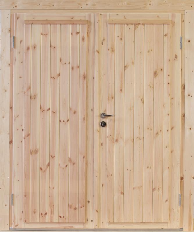 Wolff Finnhaus Holz-Gartenhaus Doppel-Tür -  Knut XL (extra hohe Türe) 40