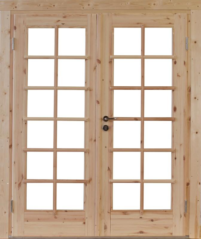 Wolff Finnhaus Holz-Gartenhaus Doppel-Tür -  Lars 44 Iso