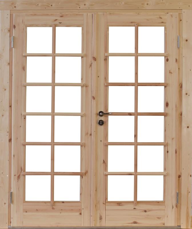 Wolff Finnhaus Holz-Gartenhaus Doppel-Tür -  Lars XL (extra hohe Türe) 44 Iso