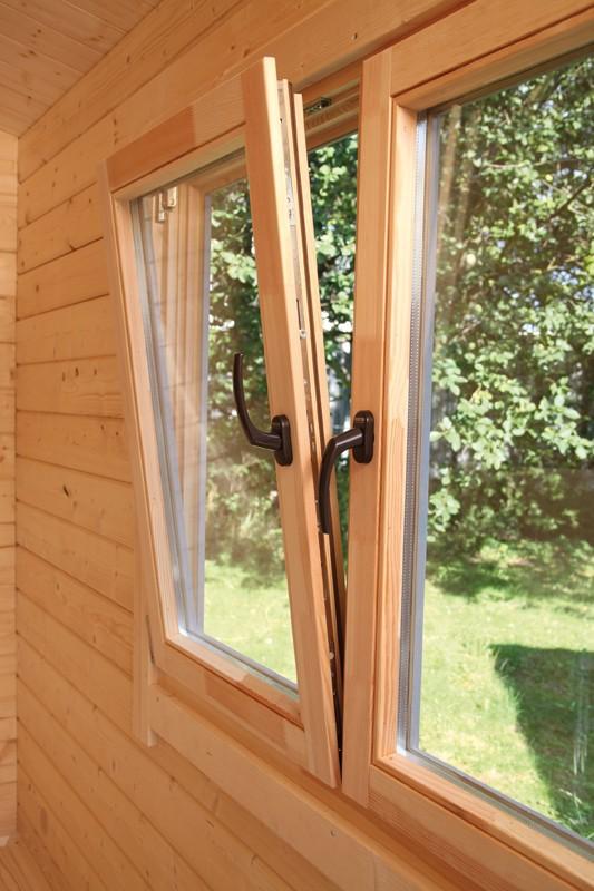 Wolff-Finnhaus Holz-Gartenhaus-Einzel-Fenster weiß z.Ö.