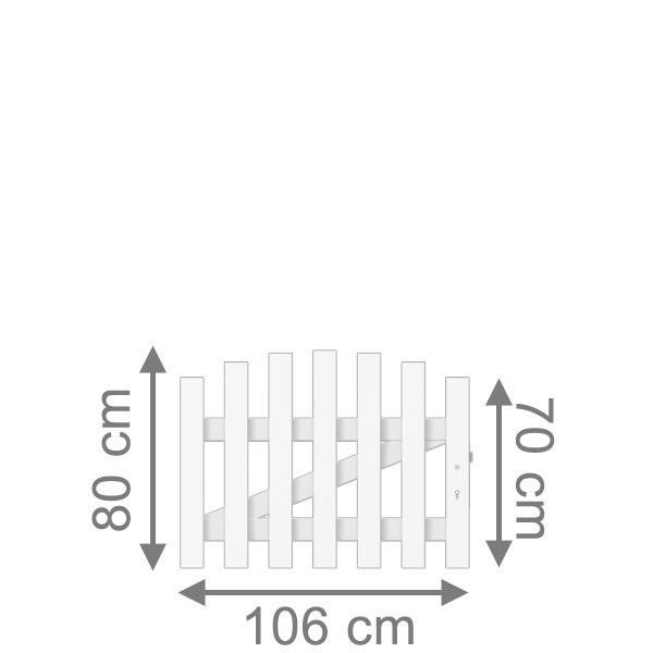 TraumGarten Vorgartenzaun Longlife Cara Tor rund DIN RE weiß - 106 x 70 cm