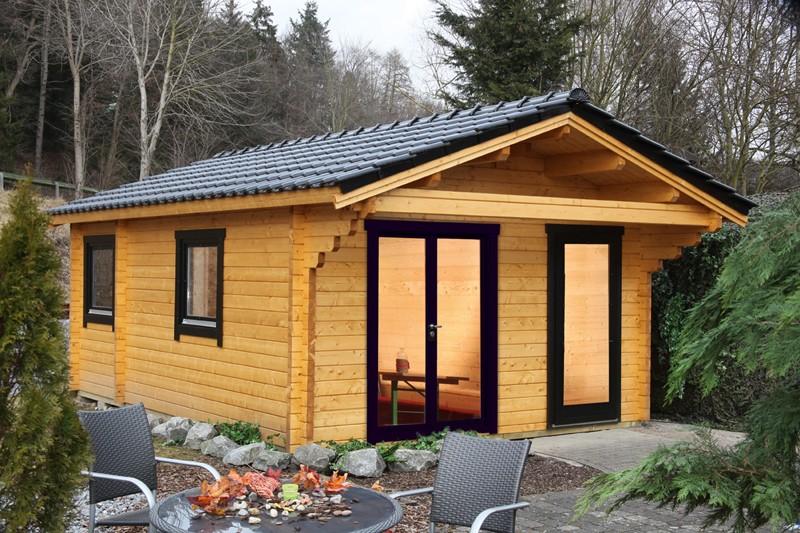 Wolff Finnhaus Holz-Gartenhaus/Ferienhaus Göteborg D - 70mm - Modern - Blockbohlenhaus