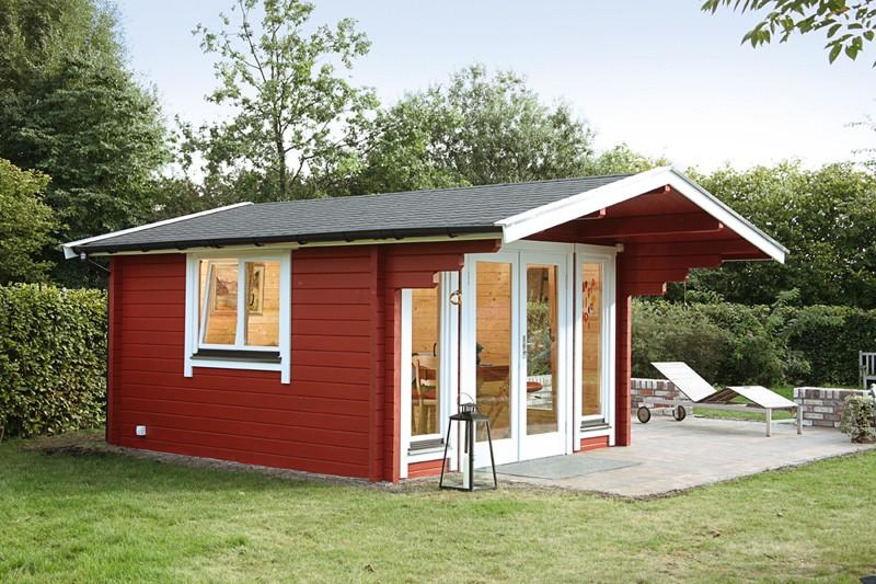 Wolff Finnhaus Holz-Gartenhaus Satteldach Hammerfest 70 mm B - Blockbohlenhaus XL (extra hohe Türe)