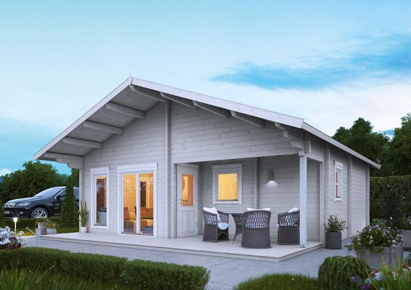 Wolff Finnhaus Holz-Gartenhaus 70mm Blockbohlenhaus Odenwald  70