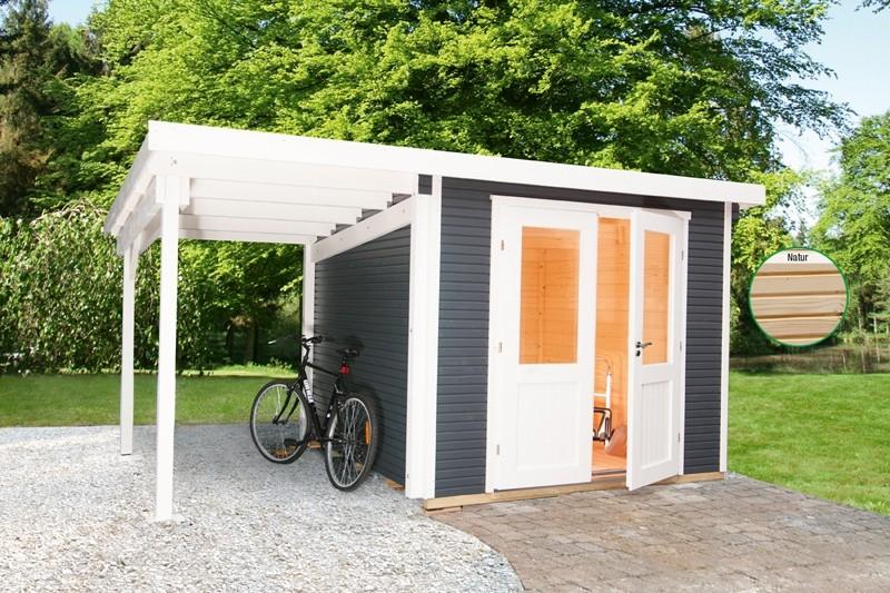 Wolff Finnhaus Holz-Gartenhaus Flachdach Gartenhaus aus Holz Pulti 28mm  Softline 2424 Natur mit SD 300