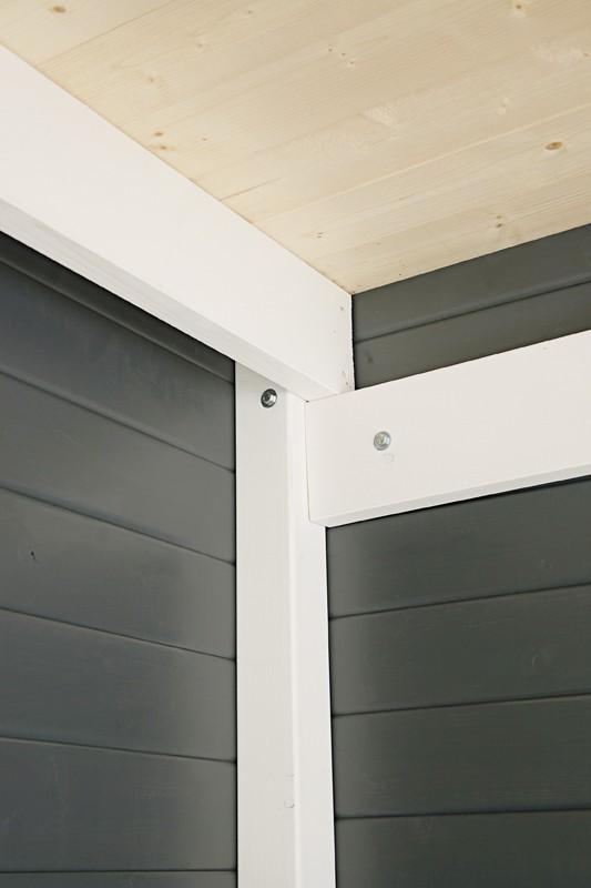 Wolff Finnhaus Holz-Gartenhaus Flachdach Gartenhaus aus Holz Pulti 28mm  Softline 3030 Natur mit SD 300