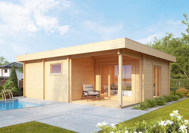 Wolff Finnhaus Holz-Gartenhaus aus Holz Flachdach 70mm Taunus 70
