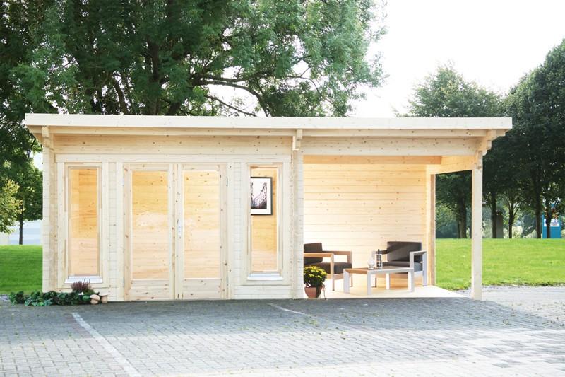 Wolff Finnhaus Holz-Gartenhaus aus Holz Flachdach 70mm Trondheim 70-A XL (extra hohe Türe) mit SD 200 Rechts