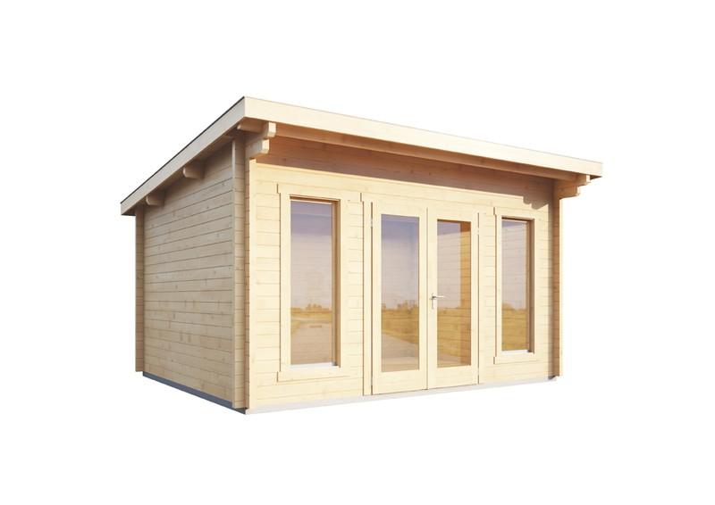 Wolff Finnhaus Holz-Gartenhaus aus Holz Flachdach 70mm Trondheim 70-B (2018) mit Wolff Finnhaus Holz-Gartenhaus Dachpappe -