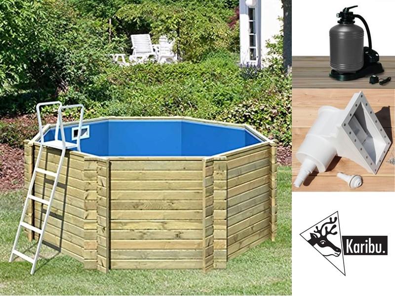 Charmant Aktion: Karibu Holz Pool Swimmingpool Achteck LILIPUT   Naturbelassen Inkl.  Filteranlage, Pumpe, U.v.m.