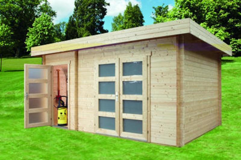 Wolff Finnhaus Holz-Gartenhaus Nancy 2-Raum Holz-Gartenhaus - 40mm Wandstärke -  450 x 300 cm