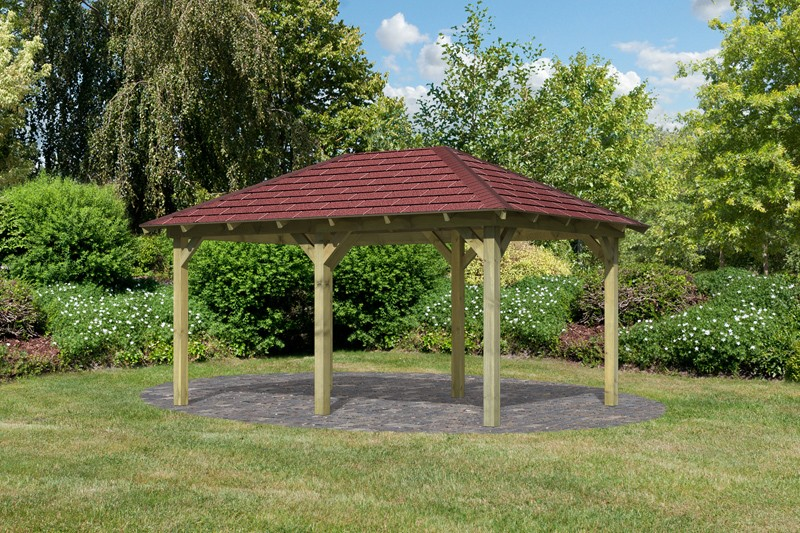 Sonderangebot: Karibu Holzpavillon Perida 1 4-Eck-Pavillon Eco inkl. Dachschindeln - kdi