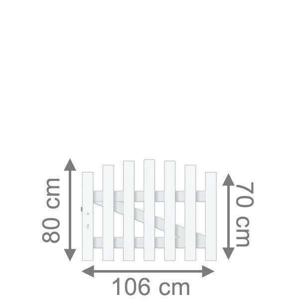 TraumGarten Gartentor Kunststoff Longlife Cara rund DIN Links weiß - 106 x 70 cm