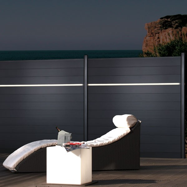 TraumGarten Sichtschutzzaun Metall Komplettset aus Serie System Alu anthrazit - 5,46 m