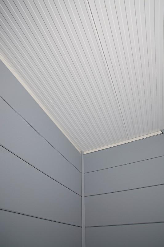 Wolff Finnhaus Metall-Gartenhaus Eleganto 3024 mit Lounge Rechts Dekorputz Wandmaß: 596 x 238