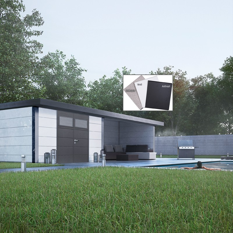 Wolff Finnhaus Metall-Gartenhaus Eleganto Lounge Links Granitgrau Wandmaß: 298 x 238