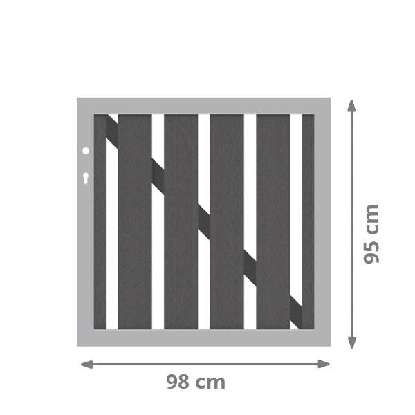 TraumGarten Einzeltor Raja Alu WPC XL anthrazit - 98 x 95 cm