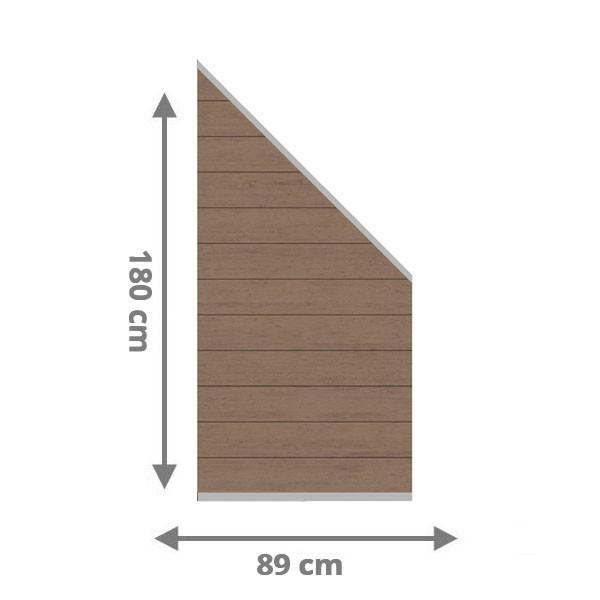 TraumGarten Sichtschutzzaun System WPC Anschluss Set mandel / silber - 89 x 183 auf 89 cm