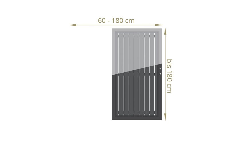 TraumGarten Einzeltor Squadra Maßanfertigung Farbe wählbar - Breite wählbar cm Höhe bis 200 cm