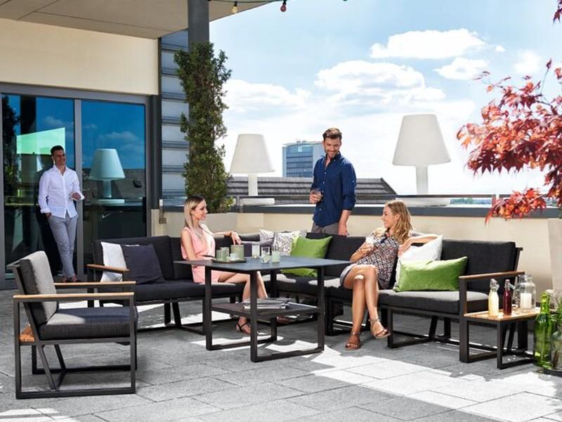 Sieger Gartenmöbel  Havanna eisengrau-grau Eckteil - Loungemöbel