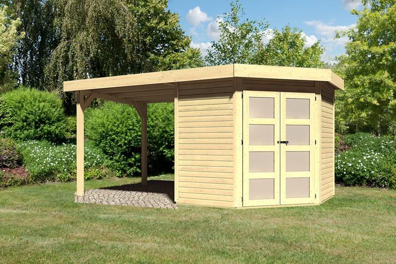 Sonderangebot: Karibu Holz-Gartenhaus Goldendorf 3  im Set mit Anbaudach  2,20 m Breit - 19 mm Flachdach Schraub- Stecksystem - naturbelassen