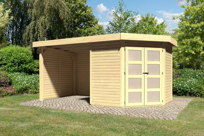 Karibu Holz-Gartenhaus Goldendorf 3  im Set mit Anbaudach  2,20 m Breit und 19 mm Seiten- und Rückwand - 19 mm Flachdach Schraub- Stecksystem - naturbelassen